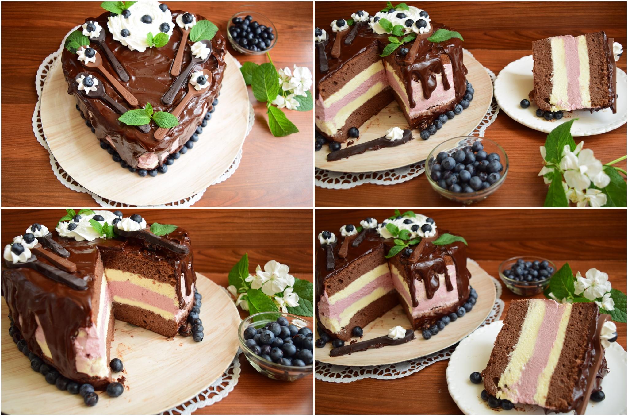 Tort cu cremă de ciocolată albă și cremă de afine