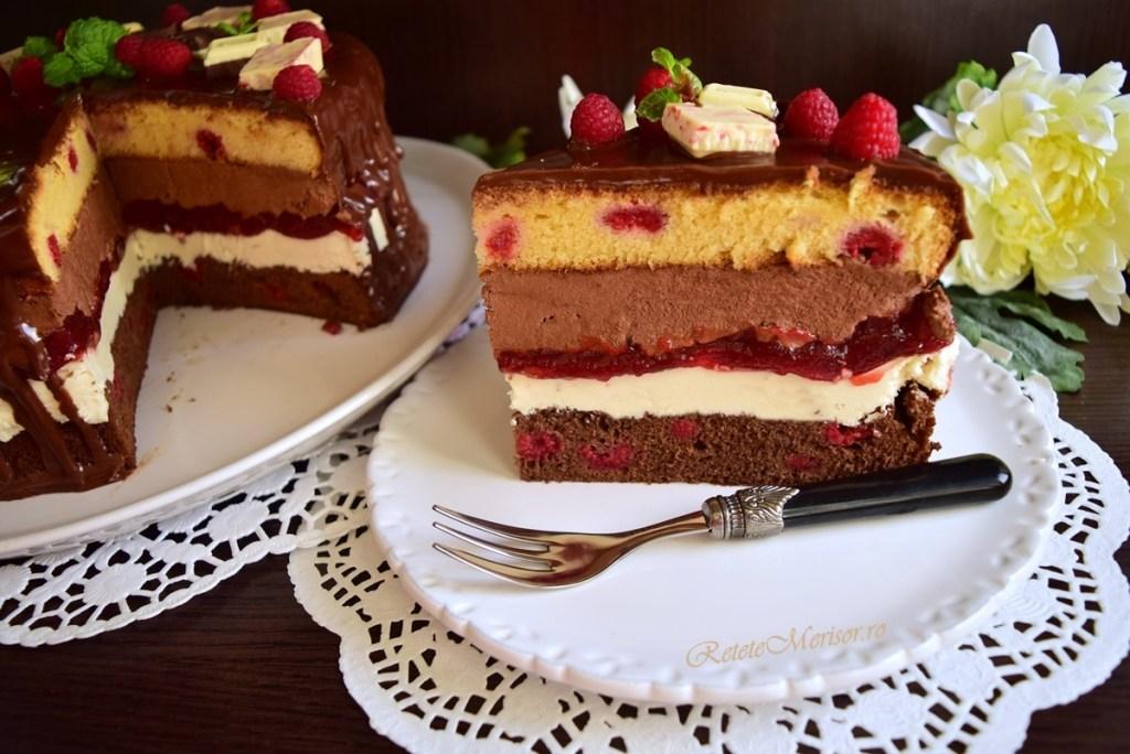 Tort Fantezie cu ciocolată și zmeură