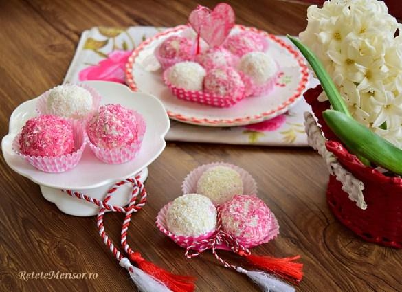 Bomboane de ciocolată albă cu cocos