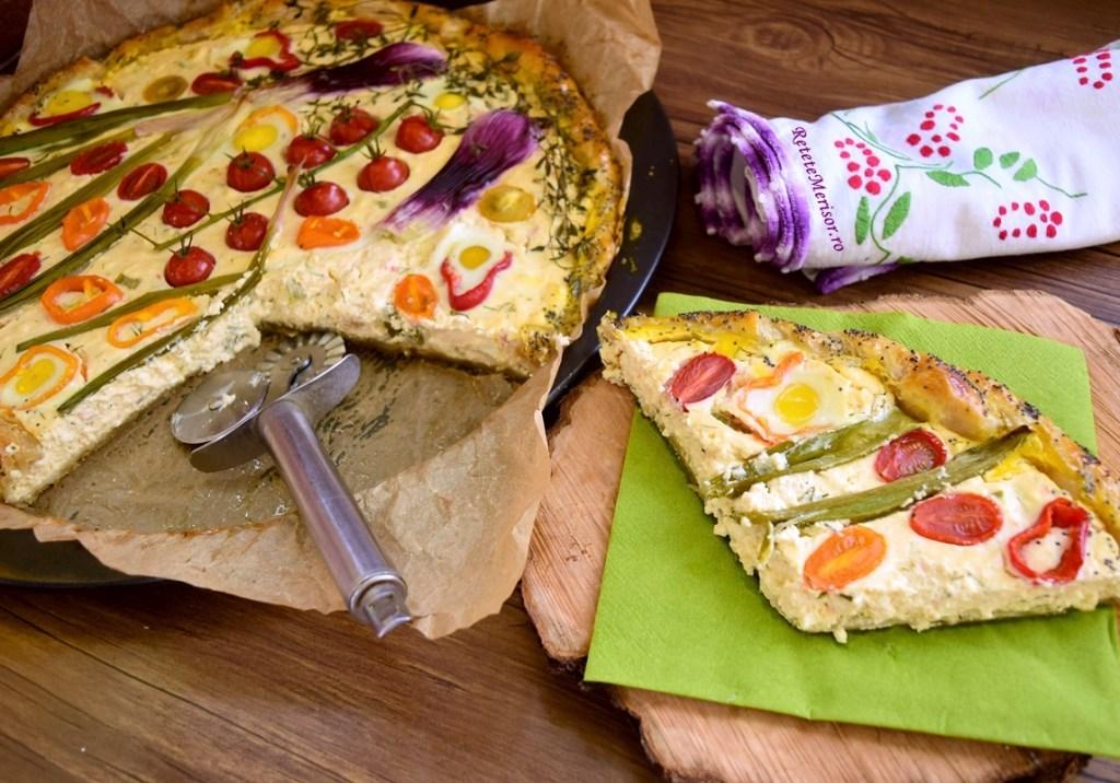 Tartă aperitiv cu brânzeturi și legume