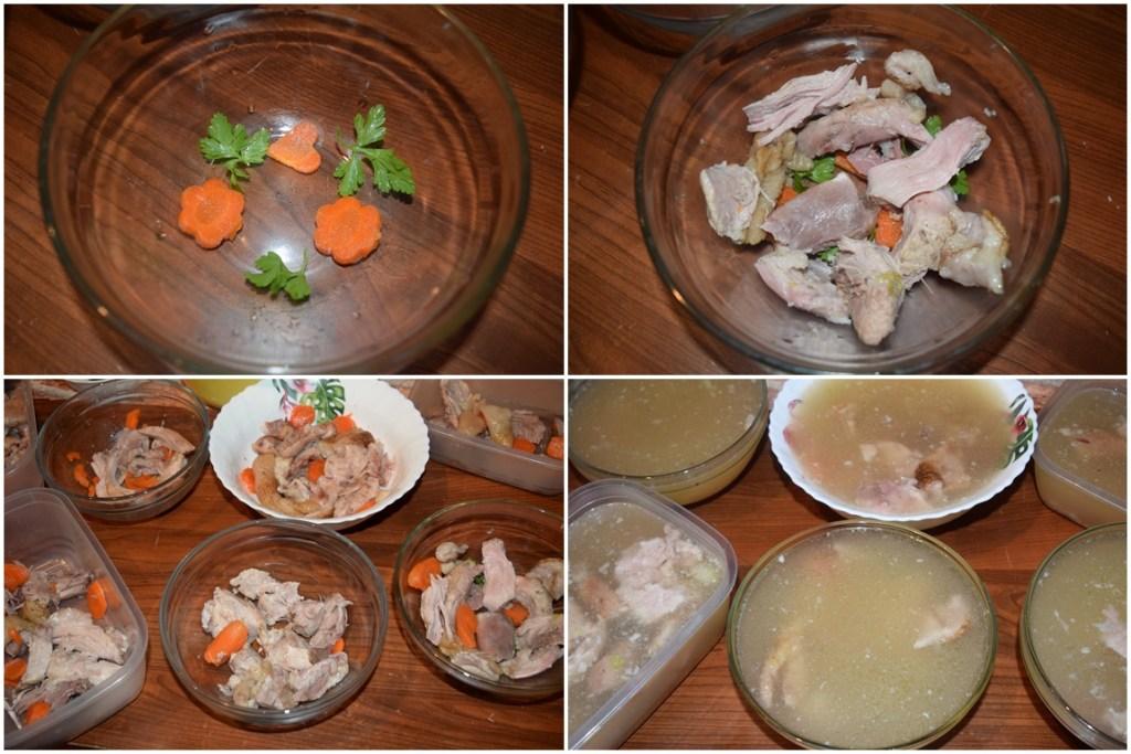 Carnea porționată în vase pentru piftie
