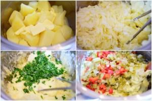 Colaj de poze cu ingredientele necesare aperitivului din cartofi cu ouă fierte