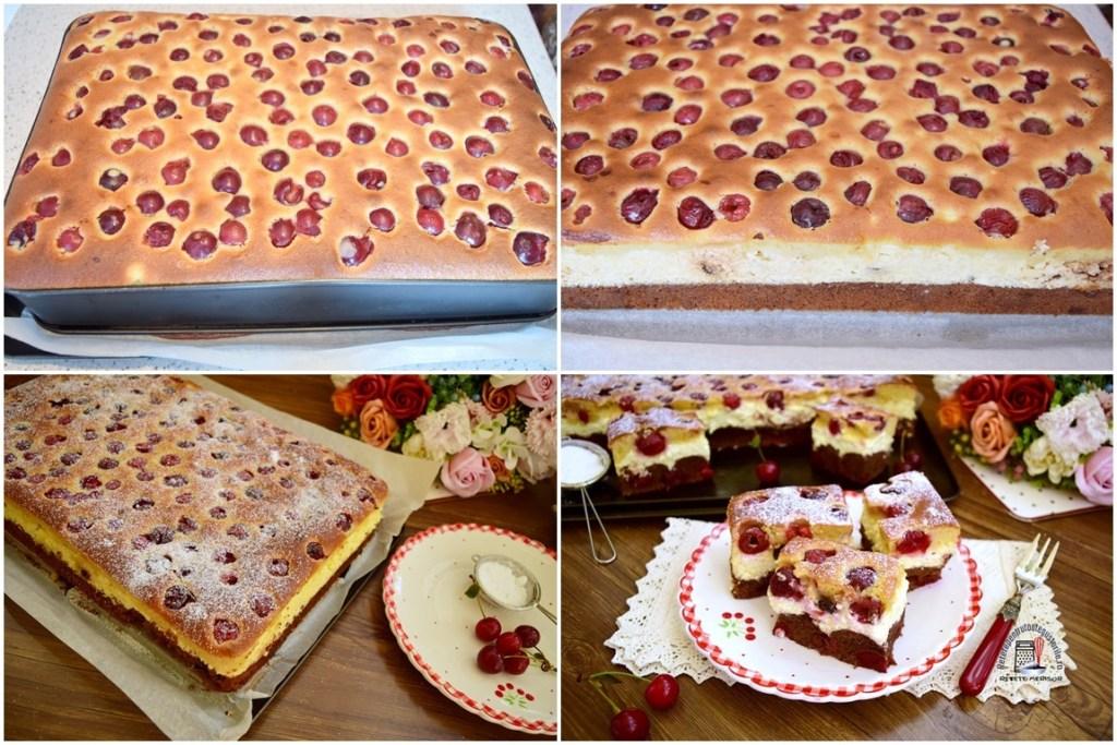 Colaj de poze cu Prăjitura Duo cu brânză și vișine, întreagă și porționată