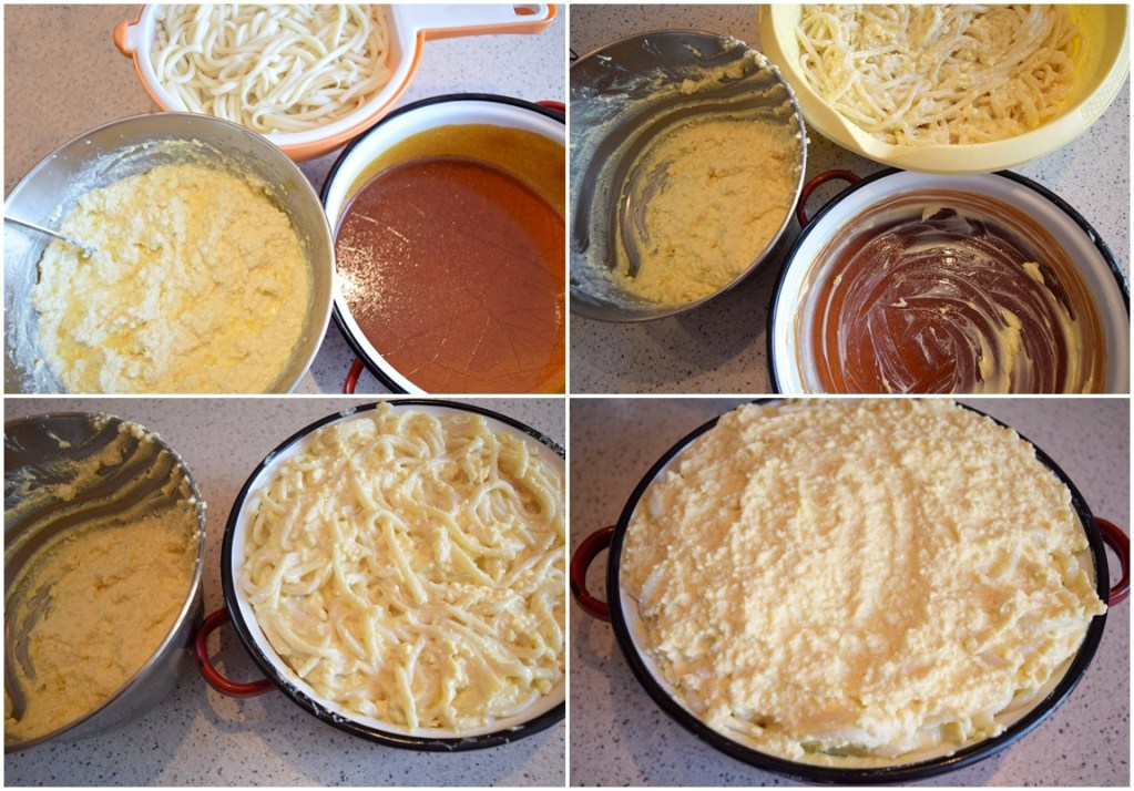 Colaj de poze cu pașii necesari preparării rețetei de Macaroane cu brânză și zahăr caramelizat