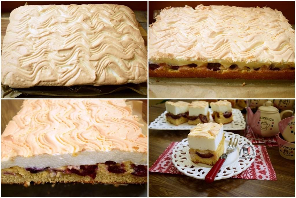 Colaj de poze cu pașii de coacere și secționare pentru prăjitură cu prune și bezea