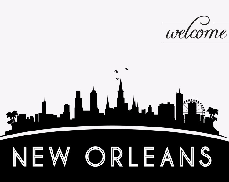 New Orleans USA skyline silhouette, black and white design, vector illustration