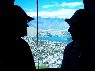 Cable ride in Queenstown, New Zealand