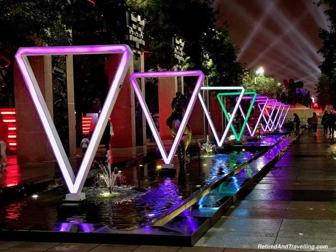 Xian S. Yanta Street Night Light Show Neon Triangles - Great Things To Discover In Xian China.jpg