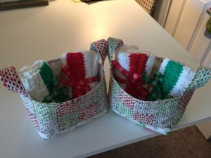 fabric baskets with dishcloths