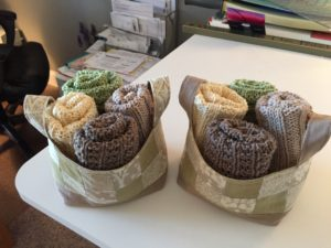 fabric basket with washcloth