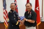 BG Tamashiro presents Winston Ling with his flag