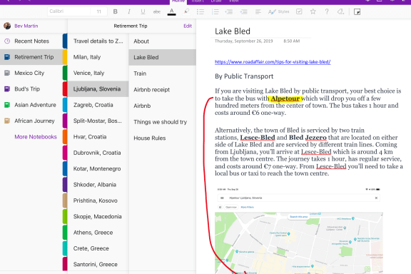 Organizing travel details using OneNote software