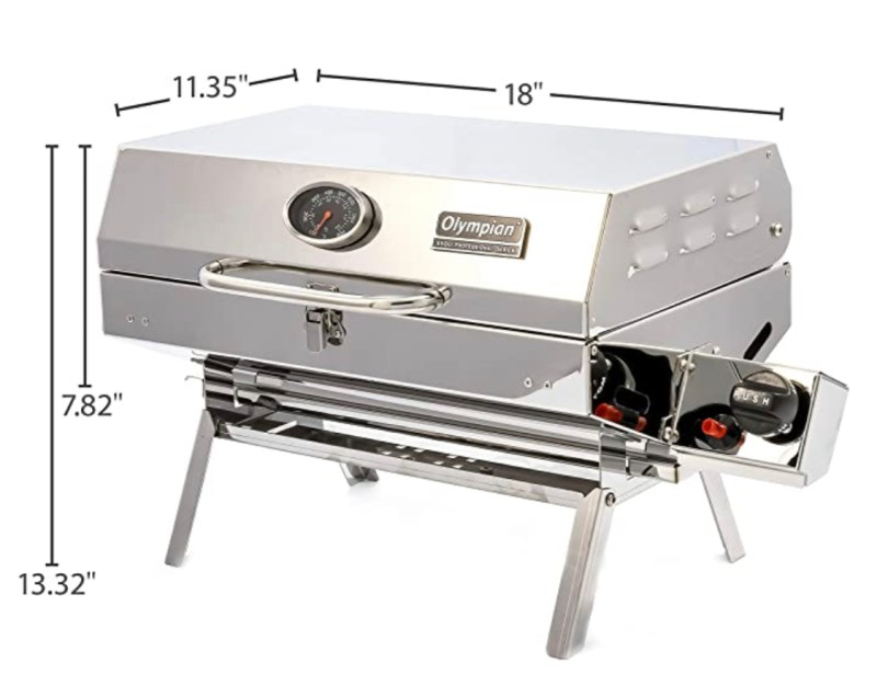 Camco Olympian 5500 Stainless-Steel Portable Gas Grill - Connects to Low Pressure Supply On RV, Includes RV Mounting Bracket and Folding Tabletop Legs (57305)