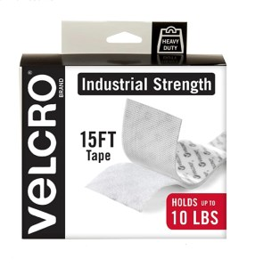 VELCRO Brand Industrial Strength Fasteners | Stick-On Adhesive | Professional Grade Heavy Duty Strength Holds up to 10 lbs on Smooth Surfaces | Indoor Outdoor Use | 15ft x 2in Tape, White