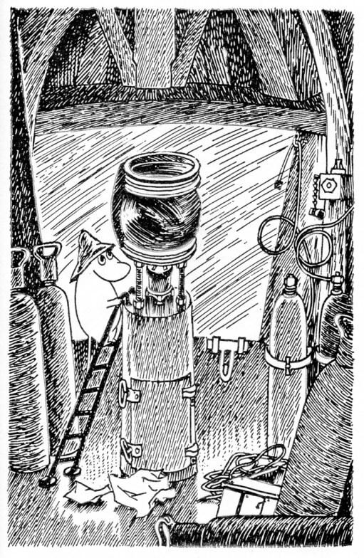 Muumipappa majakan loistokojussa. Tove Jansson on ollut selvästi perillä kaasutoimisesta loistosta. Muumipappa ja meri ilmestyi 1965, joten kirjailijalla oli hyvää aikaa käydä tutustumassa Söderskärin 1957 automatisoituun loistoon.