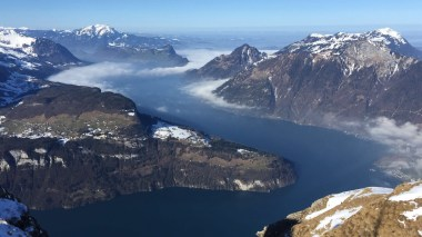 Spectacular view from Fronalpstock, Stoos, on Lake Lucerne