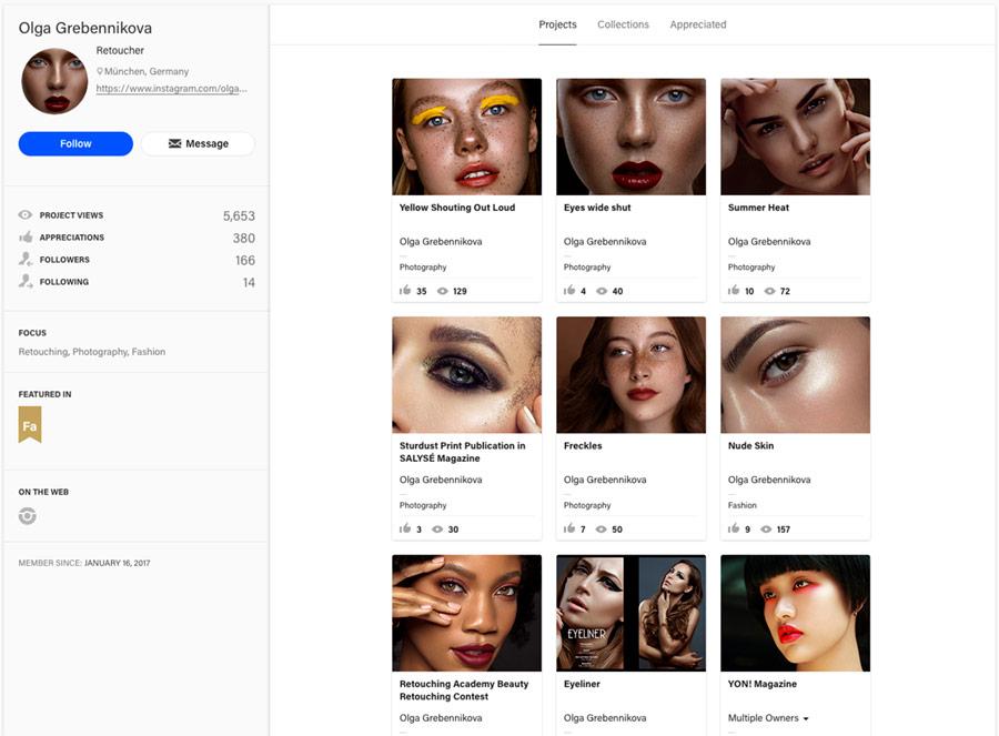 retouching portfolio on adobe behance