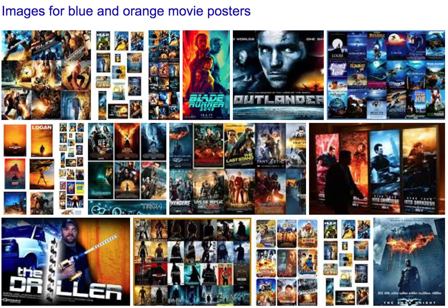 Blue and orange color scheme in movie posters