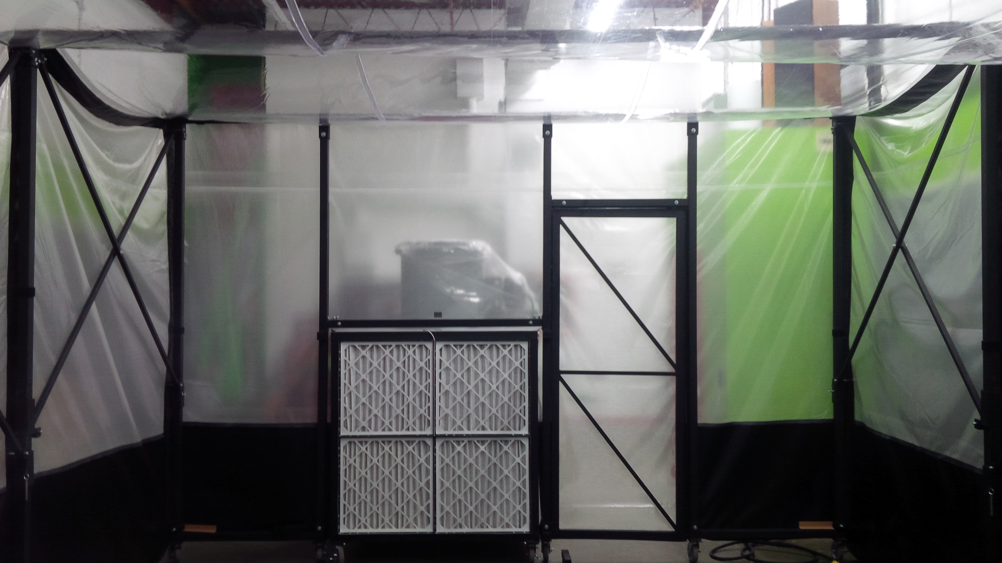process retractable paint booth