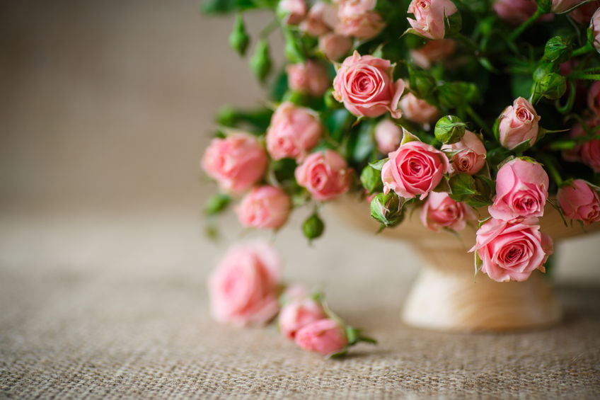 35054533 - beautiful bouquet of pink roses on an old table of burlap