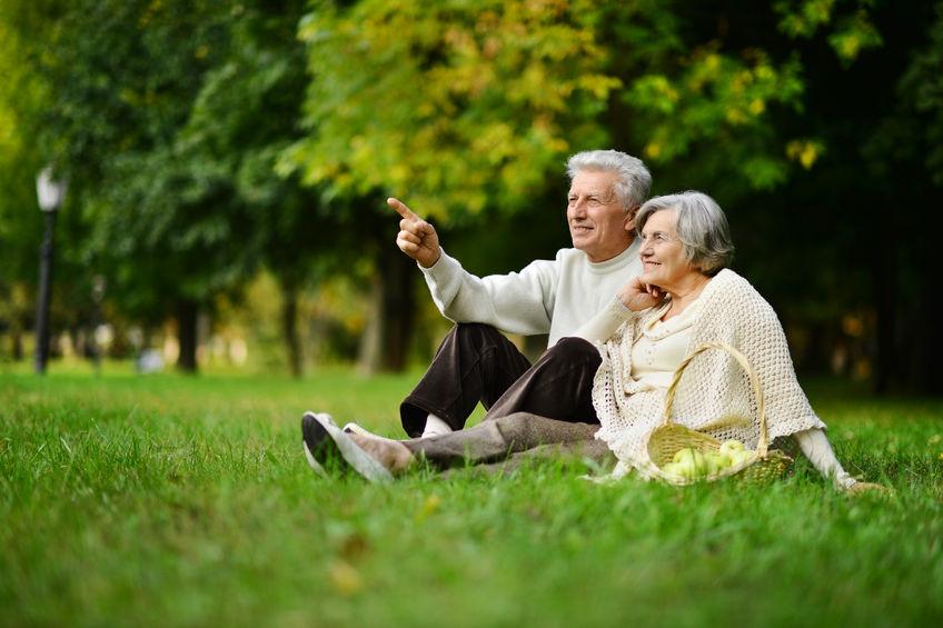 48214485 - beautiful caucasian elderly couple in the park in autumn