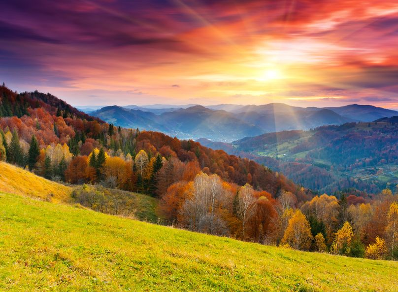 21280132 - the mountain autumn landscape with colorful forest