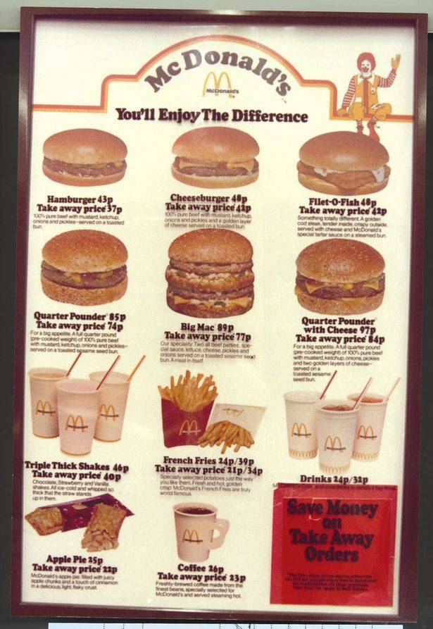 McDonalds menu in the 80's  Source: McDonalds