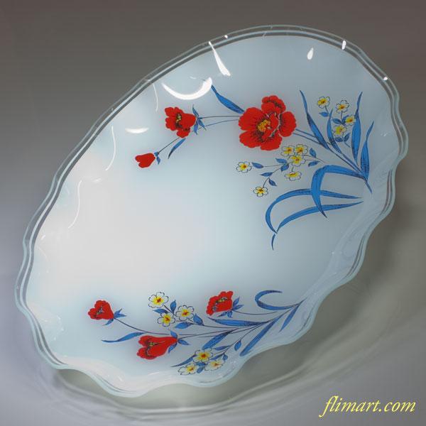 昭和レトロガラスオーバルプレート花柄