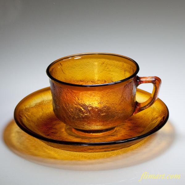 アルコロックシエラ飴色ガラスカップ&ソーサーR4622