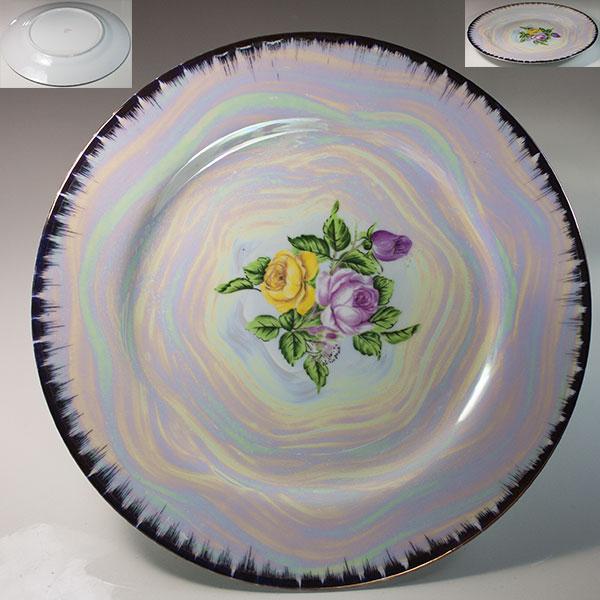 ラスター薔薇柄花柄26cmプレートR6206