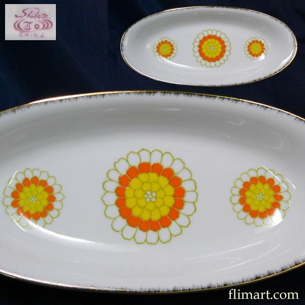 昭和レトロプレート皿楕円オーバルプレート皿花柄