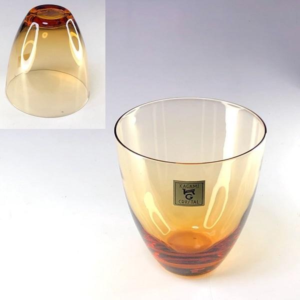 カガミクリスタル飴色ガラスコップ