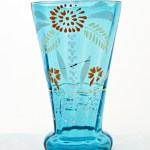 Hand blown and enameled tall Victorian glass tumbler.