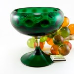 Very big Italian modernist blown glass stemmed bowl.