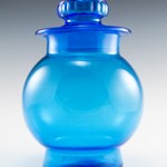 Beautiful retro vintage kitchen glass canister in vivid blue.