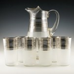 1920s - 1930s Art Deco beverage set with platinum decor.