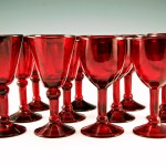 Beautiful blown glass wine glass set perfect for the holidays.