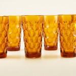 Set of six beautiful deep honey amber tumbler set.