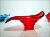 Beautiful hand made rolled lip ruby glass bowl.