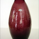 Big, beautiful Blenko crackle amethyst art glass vase with flat collar rim.