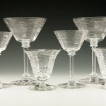 Set of 6 perfect antique hand cut crystal goblets with notched stems. Made of quality war-time crystal. Long strong ring tone. Hand-cut pattern.