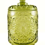 Vintage glass canister in olive green by Imperial Glass, USA. Imperial Hobstar pattern covered jar, cracker or cookie jar. It's great for any type of dry food storage item, and vanity items too. Also useful at the bar for cocktail fruit, etc.