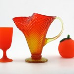 Stunning vintage glass pitcher vase in light yellow graduating to orange color and diamond point pattern. The color is called Persimmon.