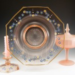 Pink Depression Glass Console Bowl and Candle Holdersb
