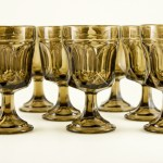 Retro glass stemware in translucent smoke brown. Circa 1980's.