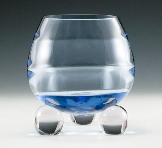 Mid Century Modern Tiffin Crystal Ball Vase Retro Art Glass