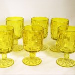 Scarce set of 6 Ashley basket weave large goblets by Viking Art Glass. Bright citron yellow glass.