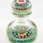 1920s English Art Glass Inkwell and Paperweight with Sliced Cane Decor.