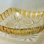 Amber Stained Pressed Heavy Quality Glass Serving Bowls.