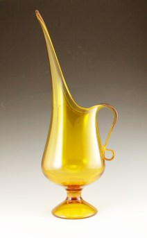 "Exaggerated retro mod pitcher by Kanawah. Vase stands 17.5"" tall."